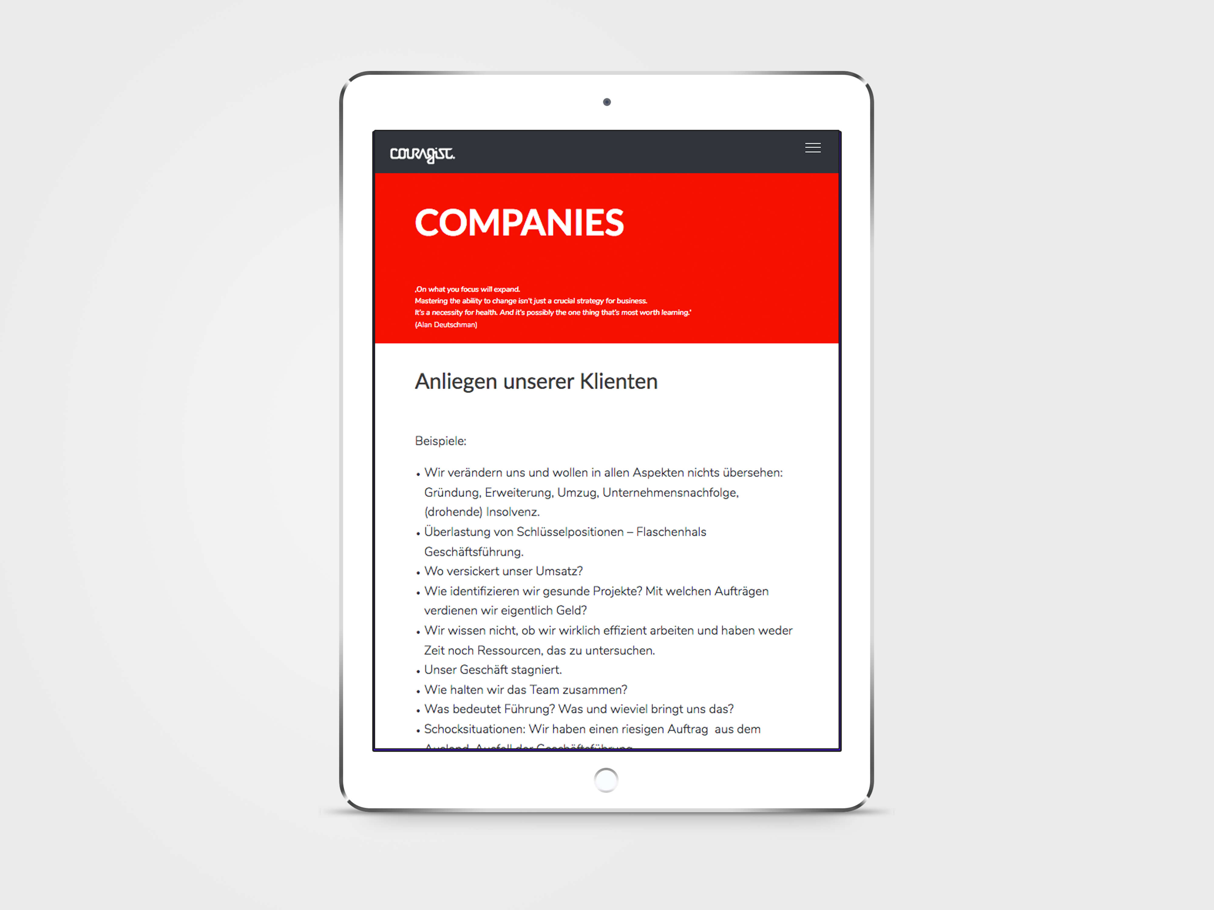 screen design home page for a business consultant website, wordpress based