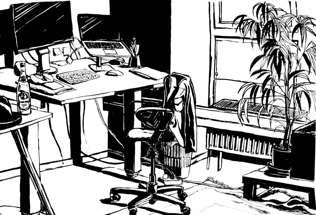 ink black and white drawing of my old office in the Postgaragen in Munich, showing my desk with my working tools such as my laptop, big monitor, pens and pencils.