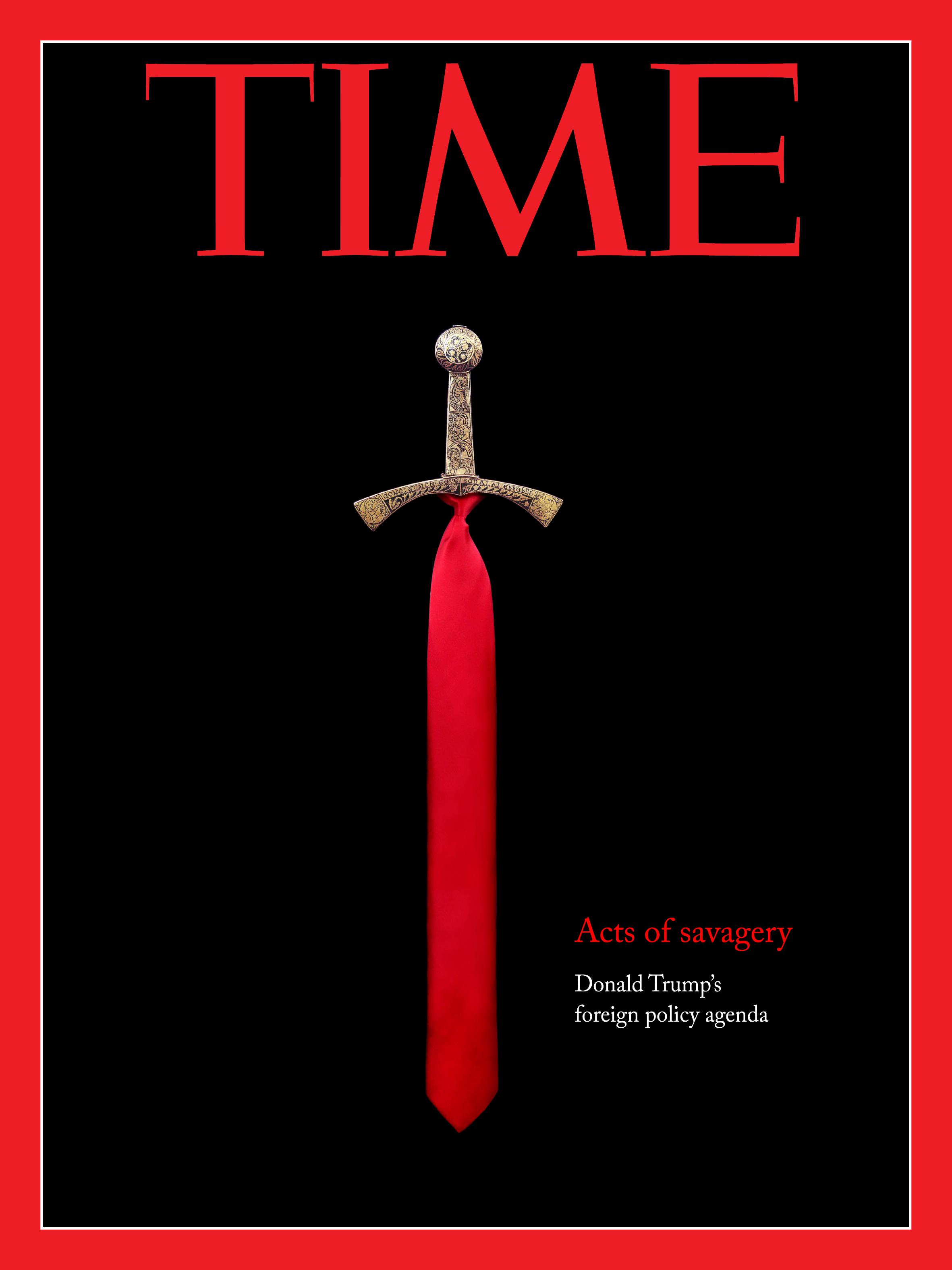 Composing von einem schwert und der Krawatte von Donald Trump, Idee für einen Time cover
