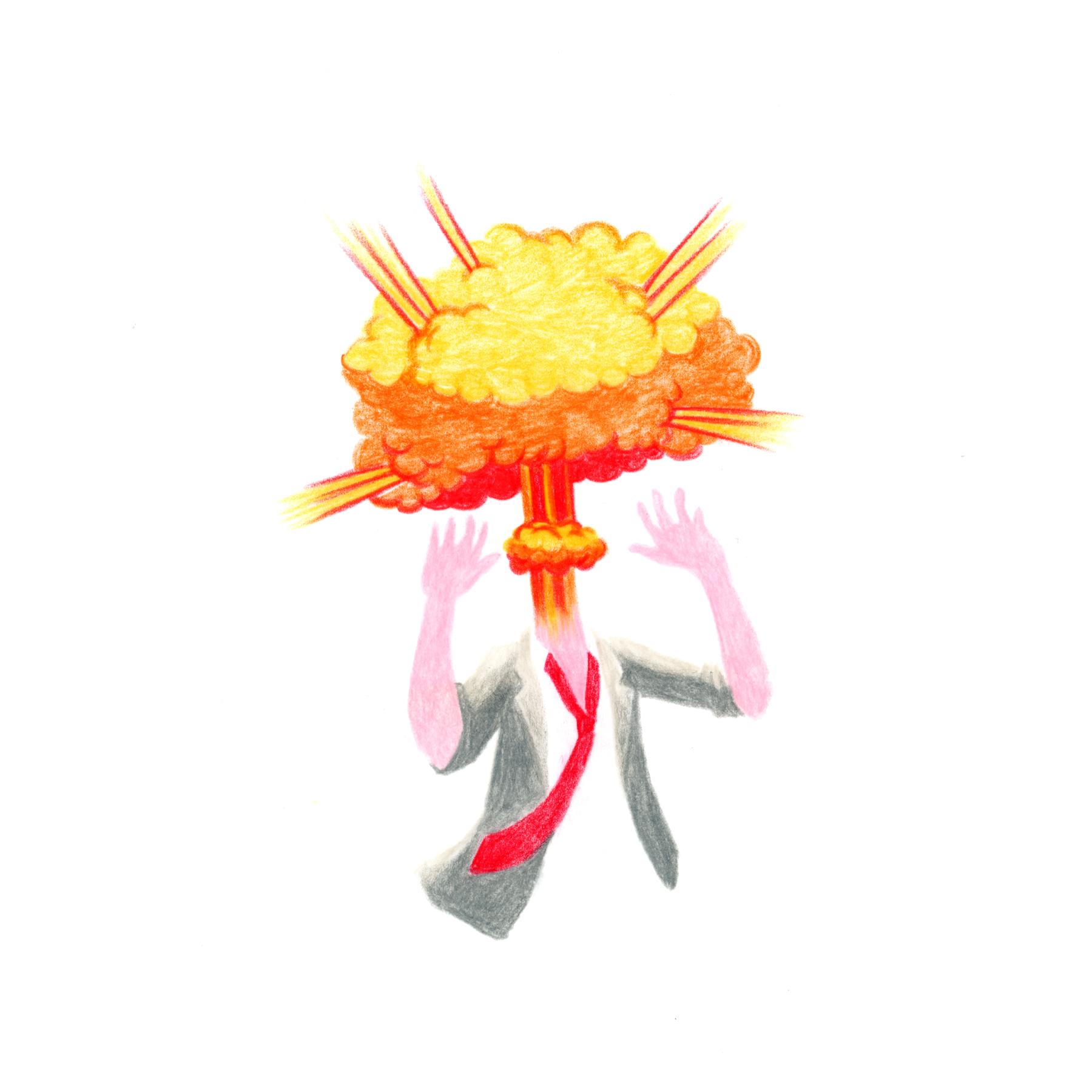 Editorial Illustration about having a lot of ideas / Editorial Illustration über Ideen im Kopf haben; man sieht einen Mann im Anzug der eine Explosion statt den Kopf hat.