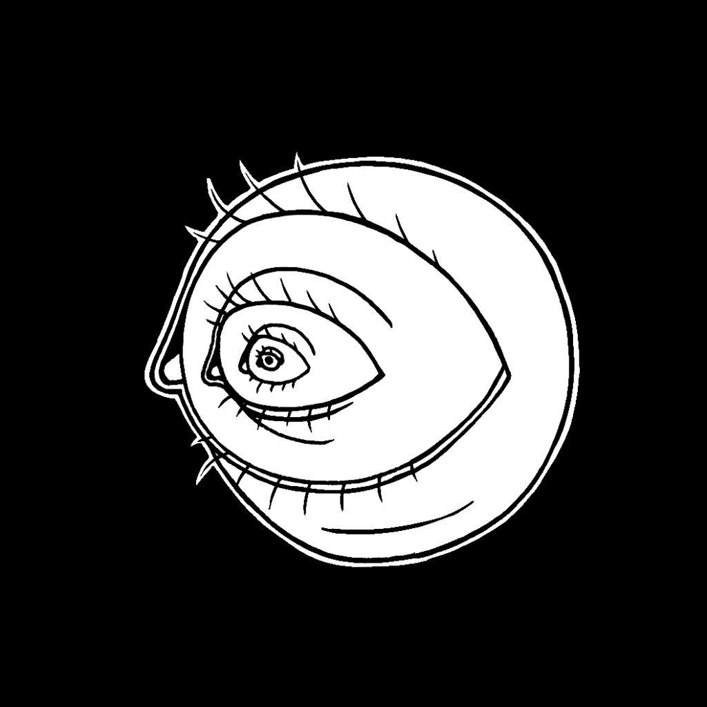 Illustration konzepiert für Fritzcola, thema ist aufwachen: eine Auge die als Iris noch eine Auge hat, das wiederholt sich in ewig, wie in einem Fractal