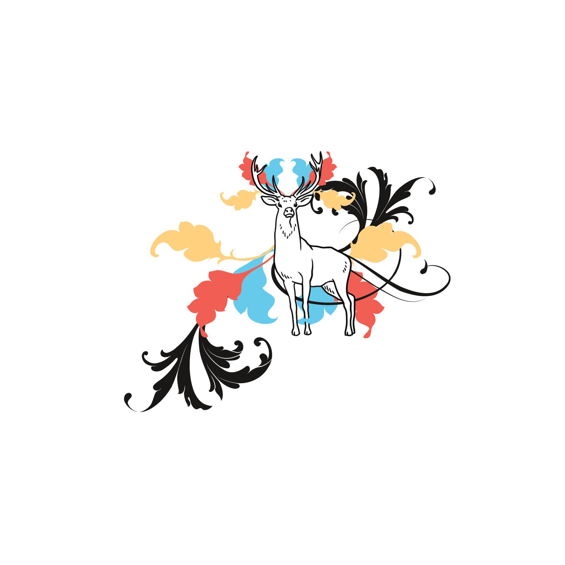 Ein Hirsch in einer eleganter und lustigen Komposition aus Feder und Kalligraphischen Schnörkel