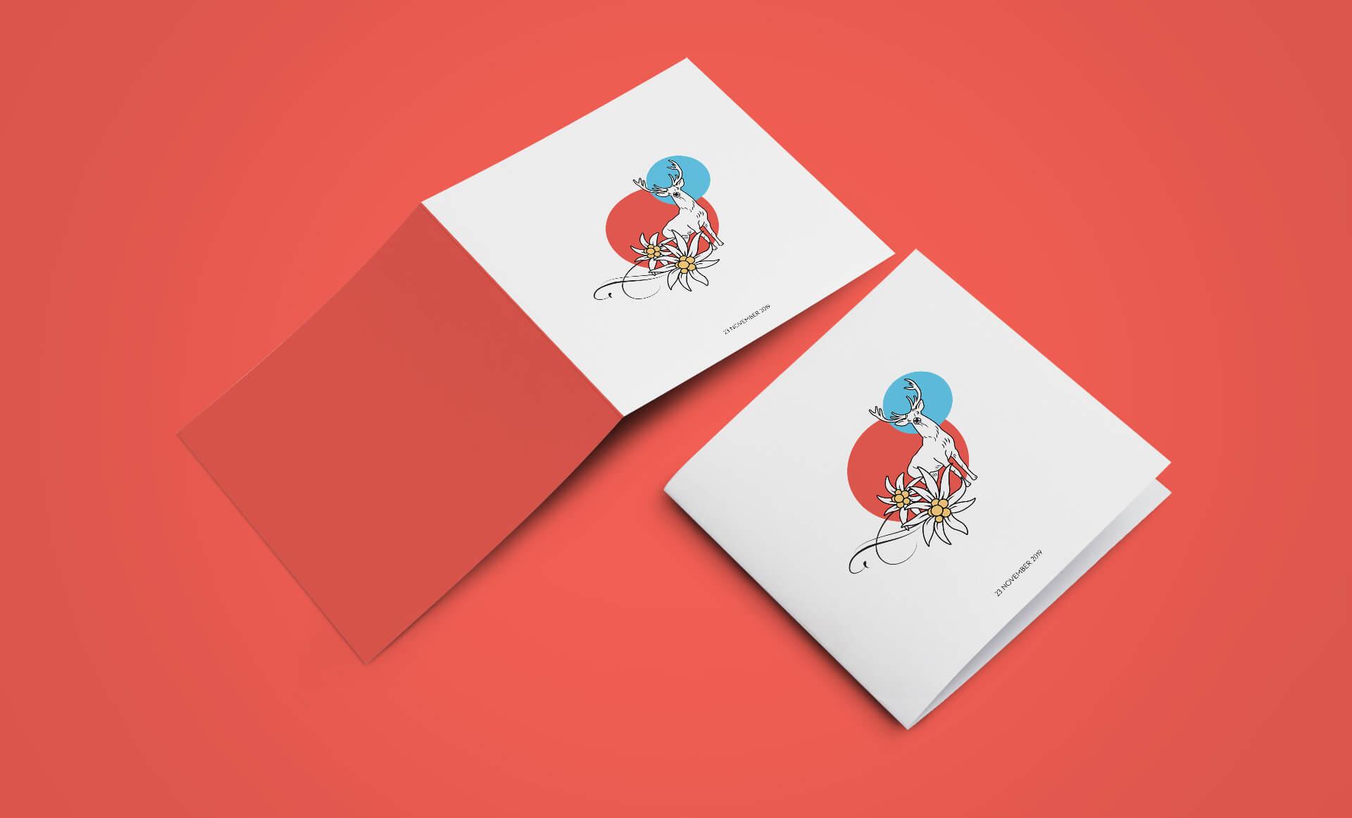 bayerisch zünftig-modern Einladungskarte für eine Abschied Party, Grafik und Illustration