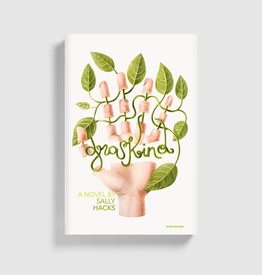 feine buntestift Illustration zweck Buchcover die eine geöffnete Hand zeigt, deren Gefäße Pflanzenstängel sind
