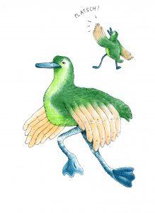 Feine Bunten Stiften Illustration, die einen Vogel zeigt, dessen Flügel Hände sind