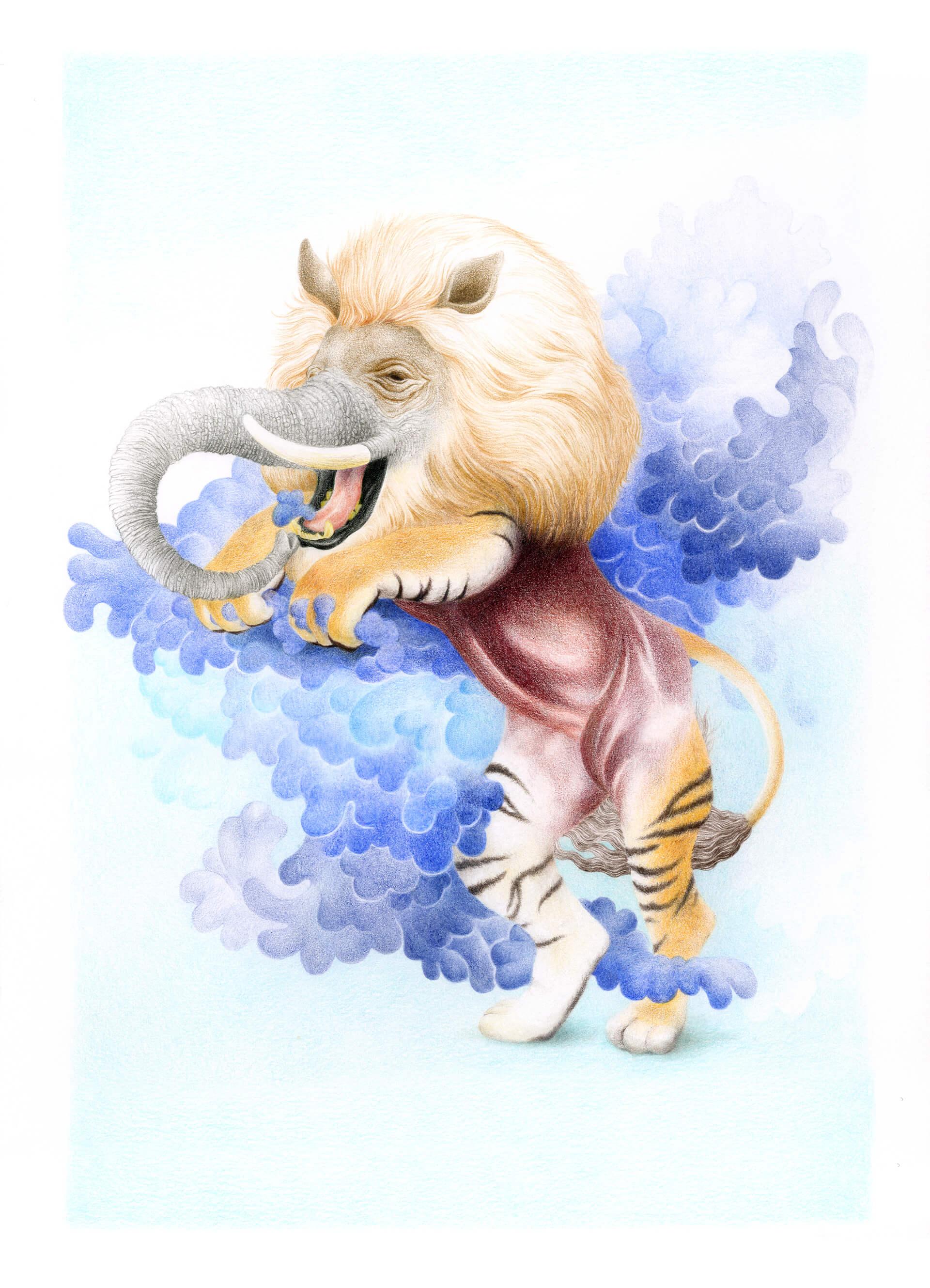 Feine Bunten Stiften Illustration von dem Traumfresser, oder Baku genannt, eine phantastische Figur aus der japanischen Mythologie, die Alpträume wegfrisst. Der Baku ist eine Mischung aus einem Tiger, einem Ryhno, einem Elephant, einer Kuh, einem Löwe und einem Pferd.