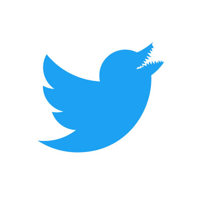 Twitter logo grows monster´s teeth after being abused into scaring people by Donald Trump